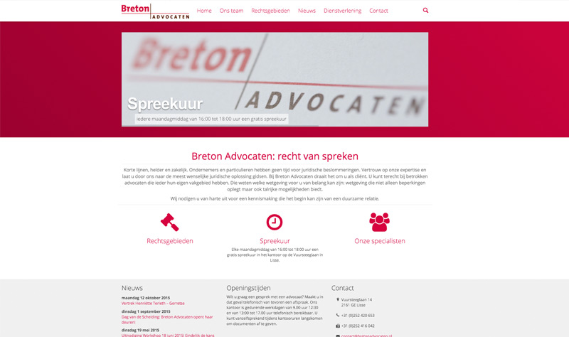 Website Breton Advocaten uit Lisse