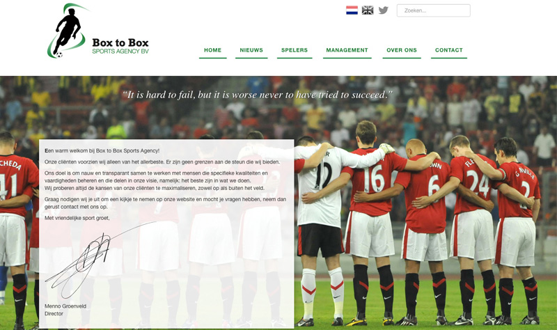Website Box to Box Sports Agency