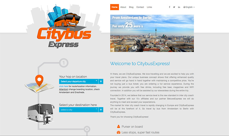 Website van CityBusExpress